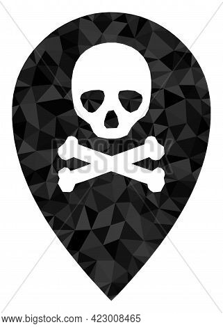 Low-poly Dead Place Marker Combined With Random Filled Triangles. Triangle Dead Place Marker Polygon