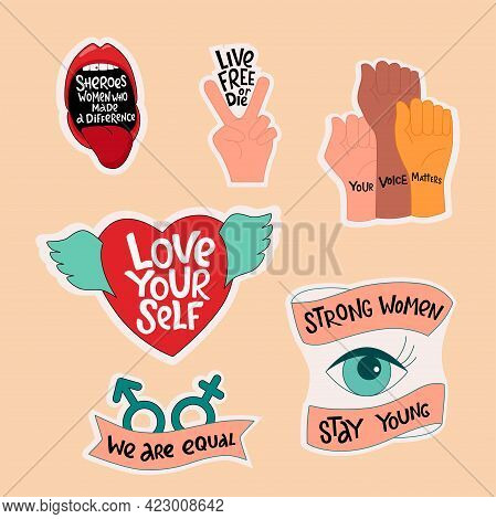 Feminist And Women Empowerment, Diversity Stickers Set. Handwritten Phrase Slogan. Lettering Quotes,