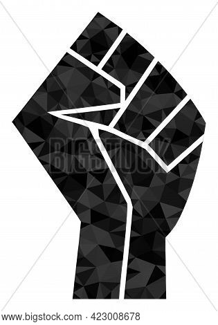 Low-poly Fist Designed With Scattered Filled Triangles. Triangle Fist Polygonal Symbol Illustration.