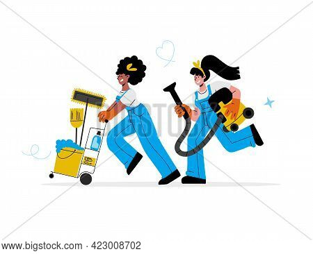 Caucasian, African-american Female Janitors In Uniform With Vacuum Cleaner, Trolley Cart Hurry To Cl