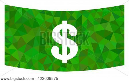Low-poly Dollar Banknote Designed With Chaotic Filled Triangles. Triangle Dollar Banknote Polygonal