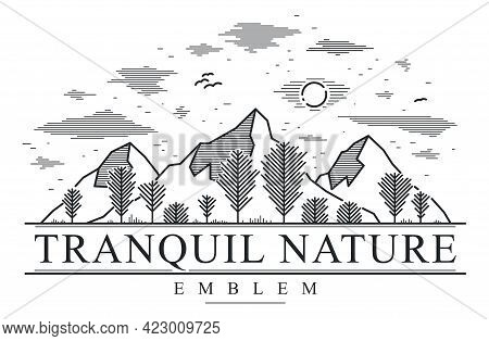 Mountains Range And Trees Forest Linear Vector Emblem Isolated On White, Line Art Drawing Of Mountai
