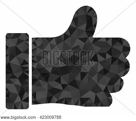 Low-poly Thumb Up Combined Of Scattered Filled Triangles. Triangle Thumb Up Polygonal Icon Illustrat
