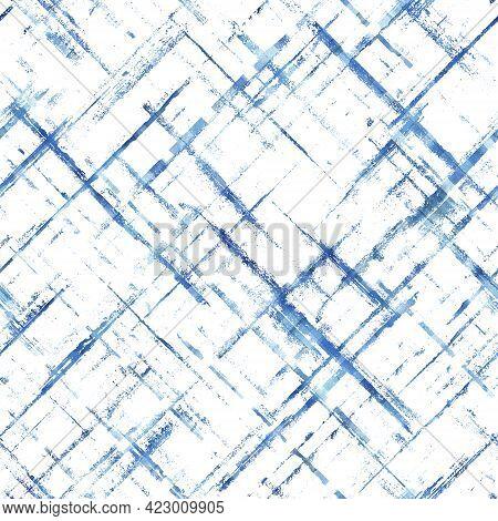 Watercolor Stripe Diagonal Plaid Seamless Pattern. Blue Stripes On White Background. Watercolour Han