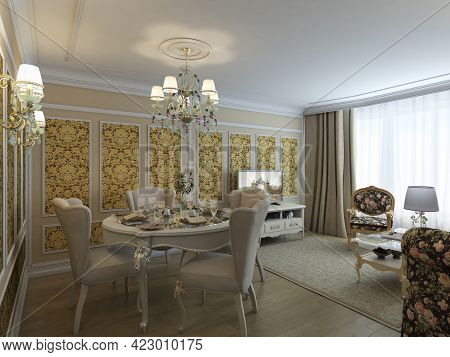 A Luxurious Living Room In A Classic Style With Beige Walls, Classic Furniture, White Molding, Chand
