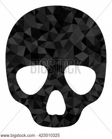 Low-poly Skull Designed From Scattered Filled Triangles. Triangle Skull Polygonal Icon Illustration.