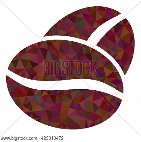 Low-poly Coffee Bean Designed With Randomized Filled Triangles. Triangle Coffee Bean Polygonal Icon