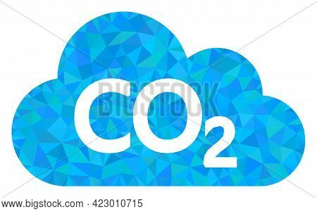 Low-poly Carbon Dioxide Cloud Designed With Chaotic Filled Triangles. Triangle Carbon Dioxide Cloud