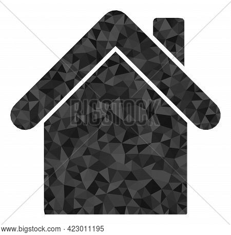 Low-poly Home Combined Of Random Filled Triangles. Triangle Home Polygonal Icon Illustration. Home I