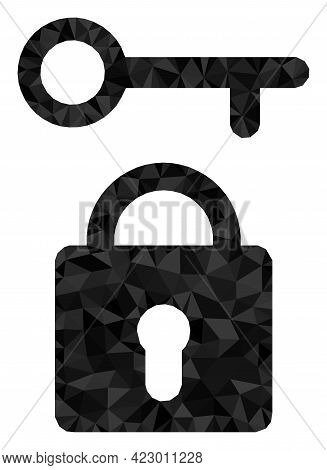 Low-poly Lock Key Combined With Random Filled Triangles. Triangle Lock Key Polygonal 2d Illustration