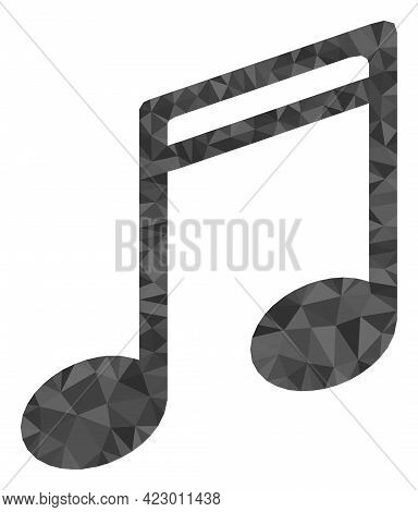 Low-poly Music Notes Combined With Randomized Filled Triangles. Triangle Music Notes Polygonal Icon
