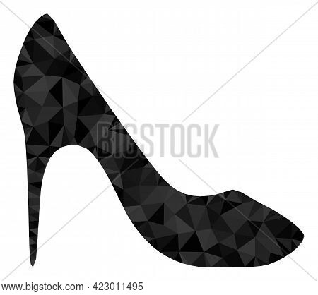 Low-poly High Heel Shoe Constructed With Scattered Filled Triangles. Triangle High Heel Shoe Polygon