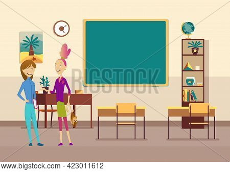 Classroom With Pupils. Primary School Kids. Modern Interior For Education. Girls Characters Ready To