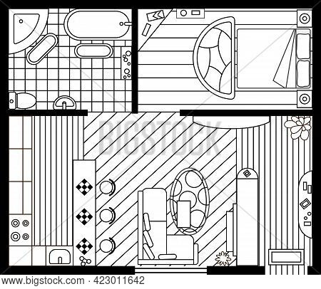 Sketch Of Interior Plan. Detailed Apartment Furniture Overhead Top View. Room In Flat Style. House F