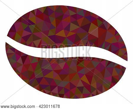 Low-poly Coffee Bean Constructed With Random Filled Triangles. Triangle Coffee Bean Polygonal Icon I