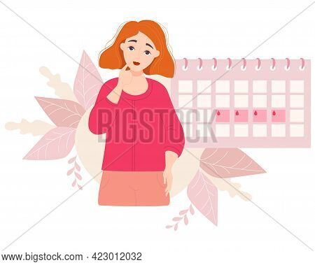 Girl Looking At Calendar. Beautiful Pensive Red-haired Girl And The Calendar Of The Female Menstrual