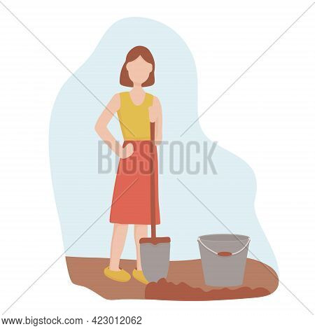 Woman With A Shovel Digging The Ground. Agricultural And Farm Work In The Garden. Gardening Season,