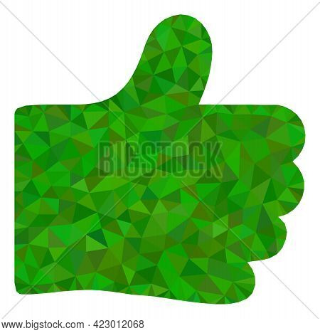 Low-poly Thumb Like Combined With Chaotic Filled Triangles. Triangle Thumb Like Polygonal 2d Illustr