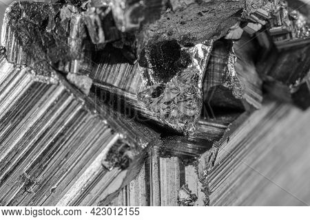 Detail Of A Pyrite Mineral In Black And White. Pyrite Is A Very Common Mineral Composed Of Iron Disu