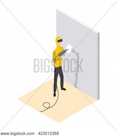 Isometric Worker. Home Repair Isometric Form With Craftsman Who Makes A Strobe For Wiring. Professio