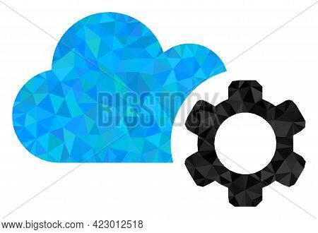 Low-poly Cloud Service Combined With Chaotic Filled Triangles. Triangle Cloud Service Polygonal Icon