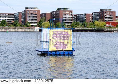 Berlin, Germany, June 1, 2021, Floating Installation With The Inscription:
