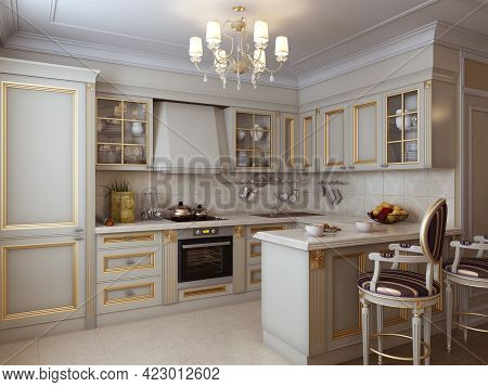 A Luxurious Kitchen In A Classic Style With Classic Gilded Furniture, Chandelier And A Marble Floor.