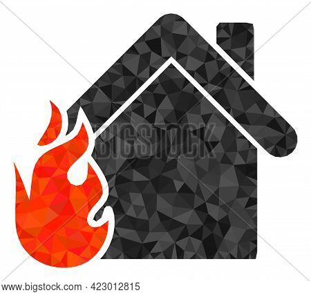 Low-poly Burning Home Constructed With Chaotic Filled Triangles. Triangle Burning Home Polygonal Ico