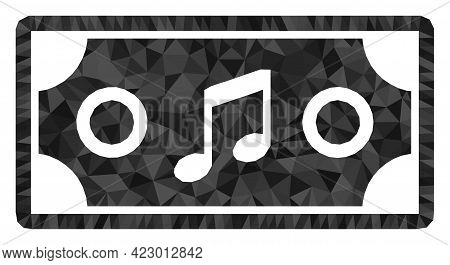 Low-poly Concert Ticket Constructed With Random Filled Triangles. Triangle Concert Ticket Polygonal