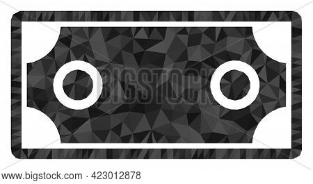 Low-poly Banknote Template Designed With Random Filled Triangles. Triangle Banknote Template Polygon