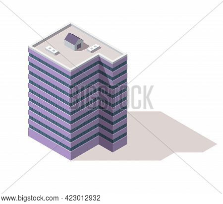 Offices Isometric. Town Apartment Building City Map Creation. Architectural Vector 3d Illustration.