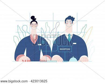 Hospital Reception - Medical Insurance Illustration. Modern Flat Vector