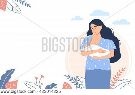 Breastfeeding Female Landing Page. Young Mother, Little Suckling Baby On White Outdoor Background. F