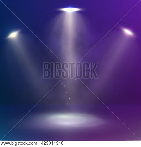 Beams Of Three Spotlights Illuminate The Stage. Abstract Scene Background Design With Spotlights And