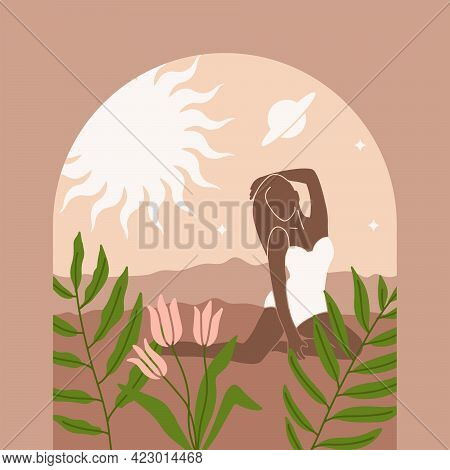 Abstract Woman Fashion Magic Silhouette In Simple Boho Style For Branding On Decorative Space Backgr
