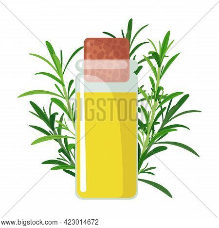 Rosemary Essential Oil Icon In Flat Style Isolated On White Background.