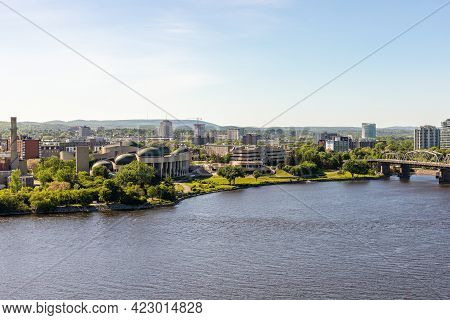 Canada, Ottawa - May 23, 2021: Panoramic View Of Ottawa River And Gatineau City Of Quebec In Canada