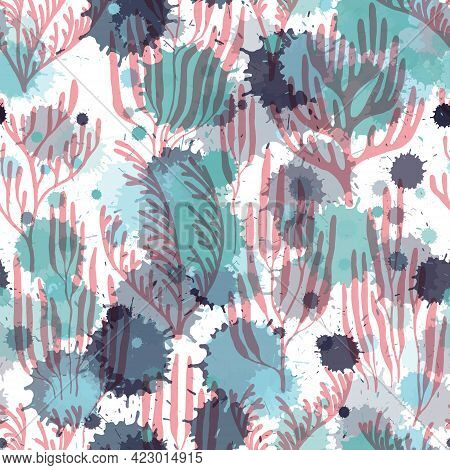 Coral Reef Seamless Pattern. Paint Splashes Drops Watercolor Background. Tropical Coral Reef Branch
