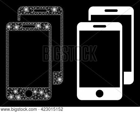 Magic Mesh Vector Smartphones With Glare Effect. White Mesh, Bright Spots On A Black Background With