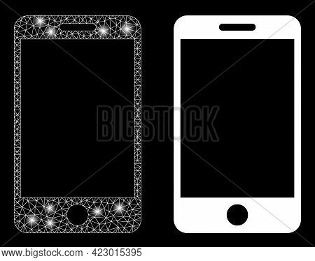 Bright Mesh Vector Smartphone With Glare Effect. White Mesh, Light Spots On A Black Background With