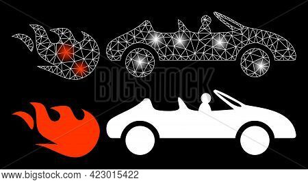 Bright Mesh Vector Cabriolet Rush With Glow Effect. White Mesh, Glare Spots On A Black Background Wi