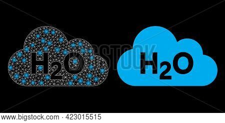 Bright Mesh Vector Water Fog With Glare Effect. White Mesh, Bright Spots On A Black Background With