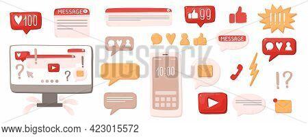 Smartphone Or Computer Chatting In Messenger Or Social Network. Internet Communication, Online Insta