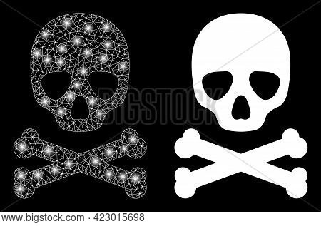 Glossy Mesh Vector Death Skull With Glare Effect. White Mesh, Bright Spots On A Black Background Wit