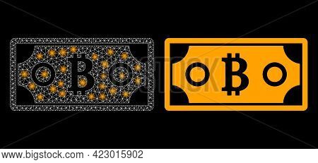 Bright Mesh Vector Bitcoin Bill With Glow Effect. White Mesh, Bright Spots On A Black Background Wit