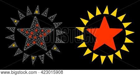 Bright Mesh Vector Star Shine With Glare Effect. White Mesh, Flash Spots On A Black Background With
