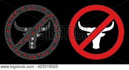 Glossy Mesh Vector No Beef With Glare Effect. White Mesh, Flash Spots On A Black Background With No