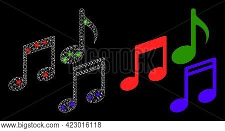 Bright Mesh Vector Melody Notes With Glare Effect. White Mesh, Bright Spots On A Black Background Wi