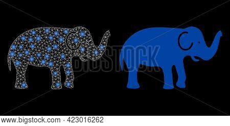 Bright Mesh Vector Elephant With Glare Effect. White Mesh, Bright Spots On A Black Background With E