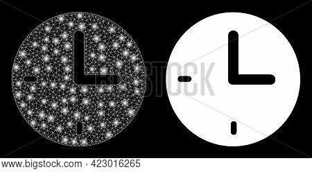 Magic Mesh Vector Time With Glare Effect. White Mesh, Glare Spots On A Black Background With Time Ic